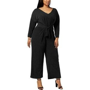 NY Collection Women's Tie-Waist Ankle Jumpsuit 1X